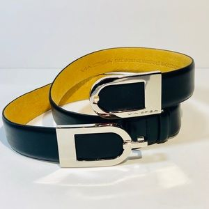 "Via Spiga 1.25"" Black Leather Belt"